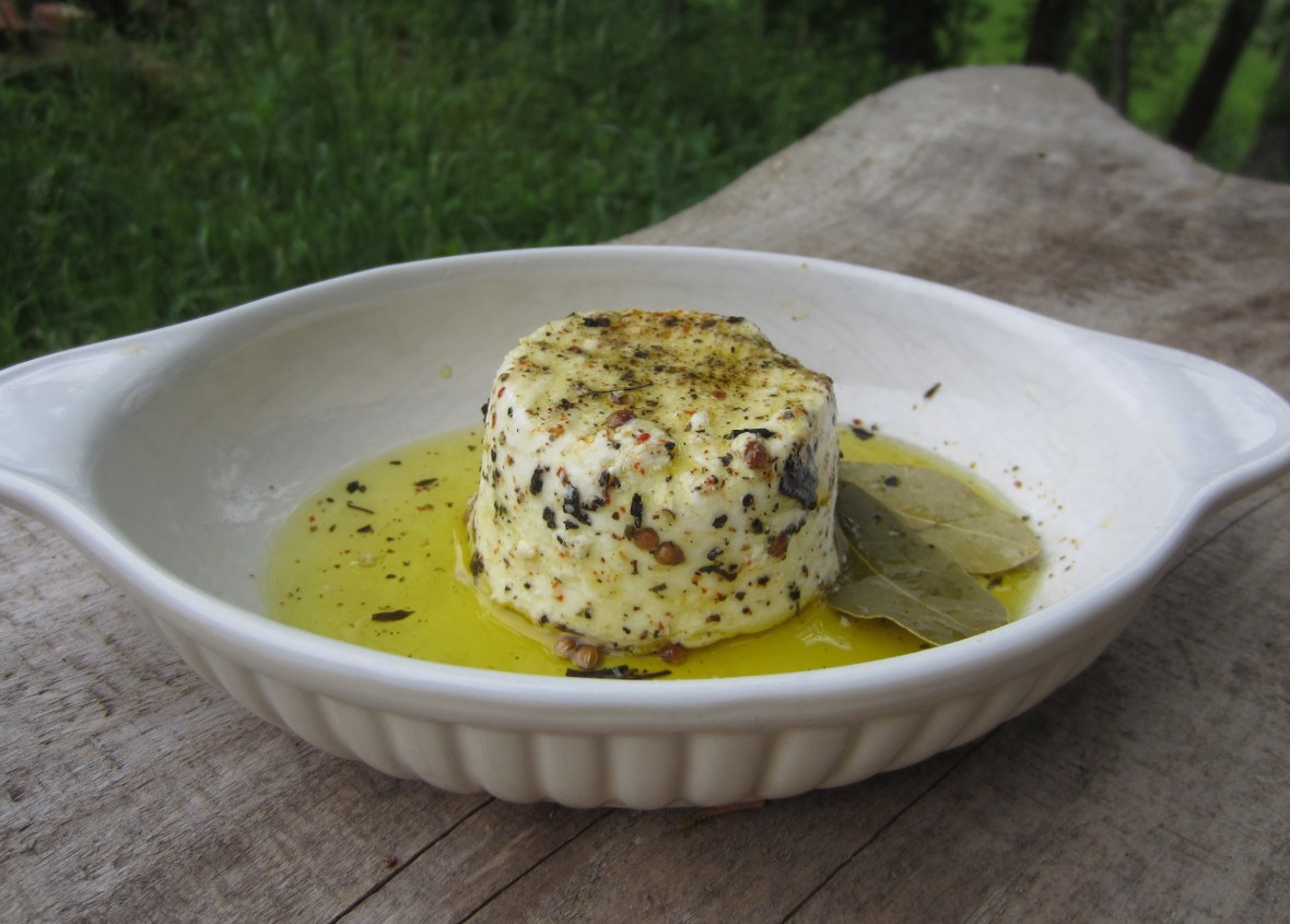 Cabecou in Olive Oil and Herbs