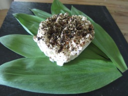 Cracked Pepper Chevre on Ramp Leaves