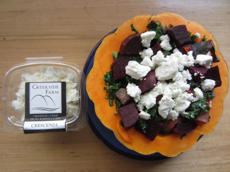 Crescenza with beets and winter squash